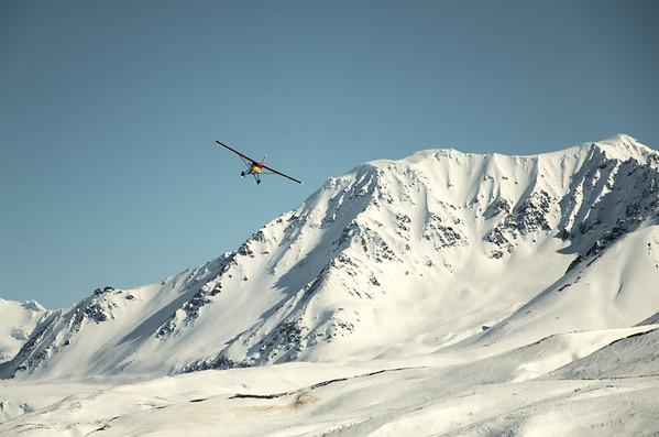 The turbine Otter arrives at the airstrip near the Gulkana Glacier north of Paxson.
