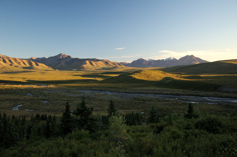 Great color in the Alaska Range. Denali National Park, over the Savage River Valley at sunset.