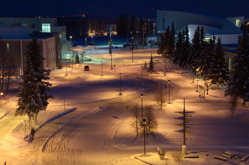 Still night on campus at UAF looking over North Koyukuk Dr. toward the Museum of the North (top left) from IARC.
