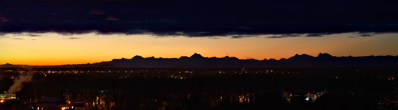 "A gorgeous morning, taken about 1 hour and 45 minutes before sunrise from the front of the Reichardt Building at the University of Alaska Fairbanks. A particularly stunning view of the Alaska Range with tall mountains (left to right) Hayes, Hess, and Deborah.  Good print size would be 5""x20"" or 6""x24"" - requires crop on top or bottom."