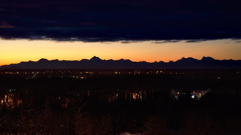 The Alaska Range over Fairbanks early in the morning in December.