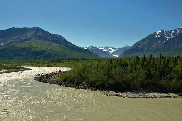Looking up the Black Rapids Glacier valley over the Delta River. You can see some of the old surge moraines in the distance.