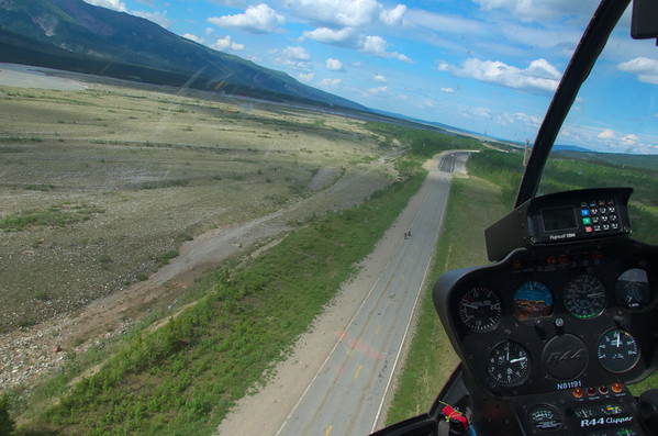 Flying out over the Richardson Highway from the airstrip at Black Rapids. We had passed those bicyclists back in Delta Junction a few hours back.