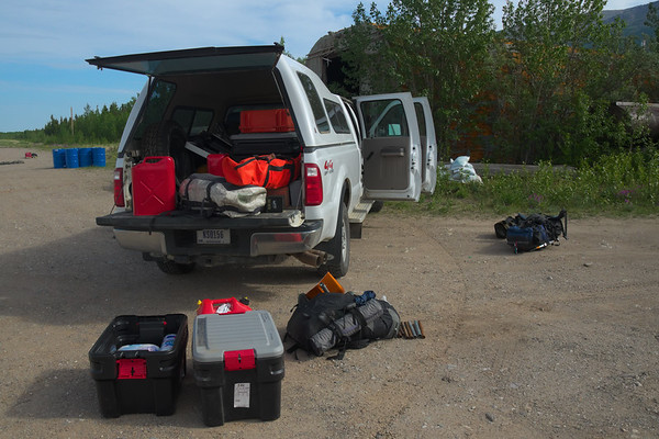Two weeks worth of camping gear, field equipment, and batteries.