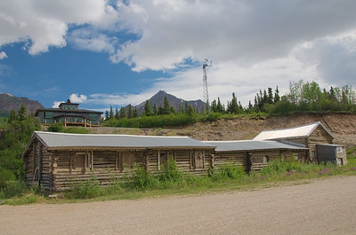 The Lodge at Black Rapids. It's a nice place to stay, good food, fun people, comfortable beds (It's the building up top - not the boarded up log cabin, that's the old roadhouse).