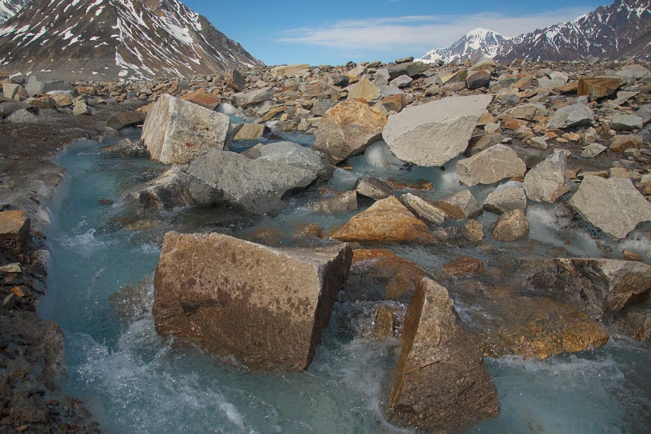 Rocky streams in small moraines.