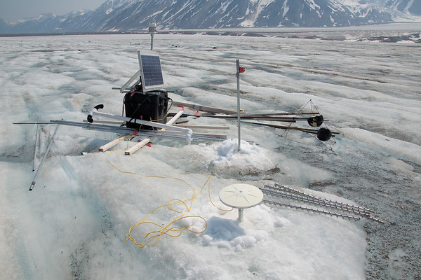 After redrilling the antenna pole for the main continuous GPS station on the Black Rapids Glacier.
