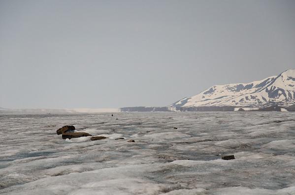 Fata morgana (superior mirage) over the glacier.