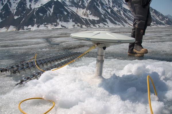 Newly drilled antenna pole.