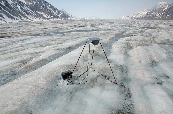 The drawire - measures ablation on the glacier surface.