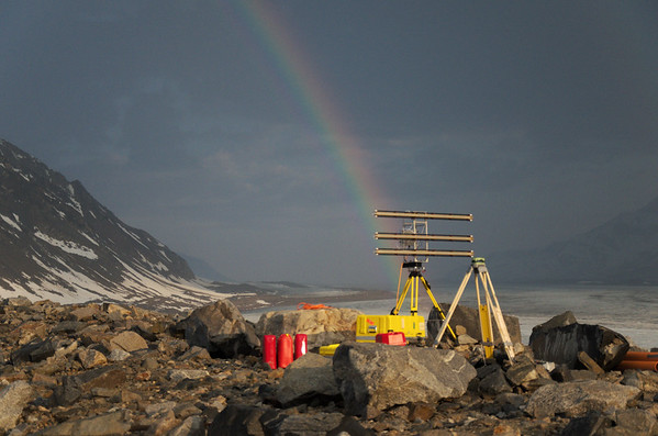 It was cool watching the rainbow straddle the medial moraine.
