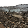 Inside the drained lake looking up.  That icewall is about 50 feet tall.