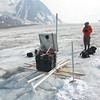 Recording pole heights adds to the seasonal melt record and lets us know when we need to re-drill poles.