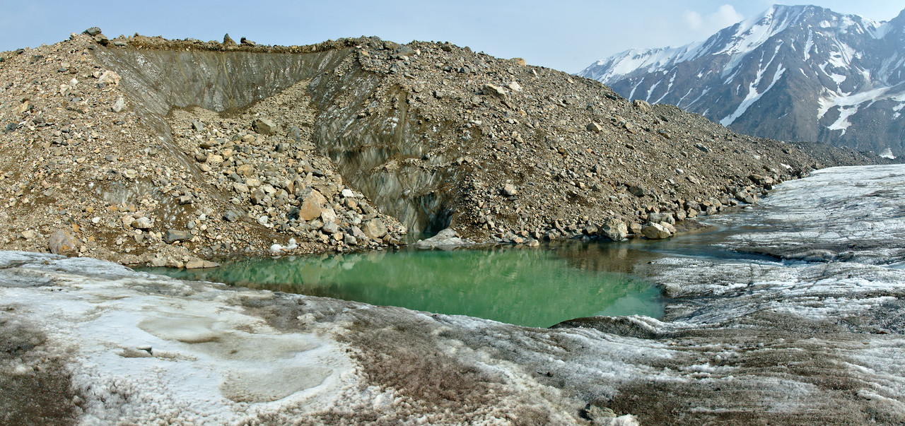landslide and pond