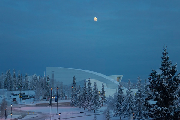 The moon over the Museum of the North