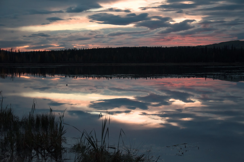 Smith Lake at the University of Alaska Fairbanks a few minutes before sunset. Incredible reflections!