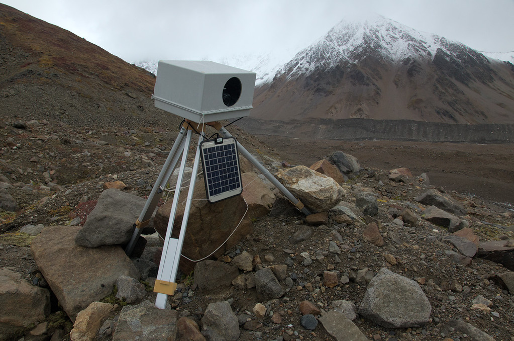 One of three timelapse cameras we had stationed up on mountainsides above ice-dammed lakes.