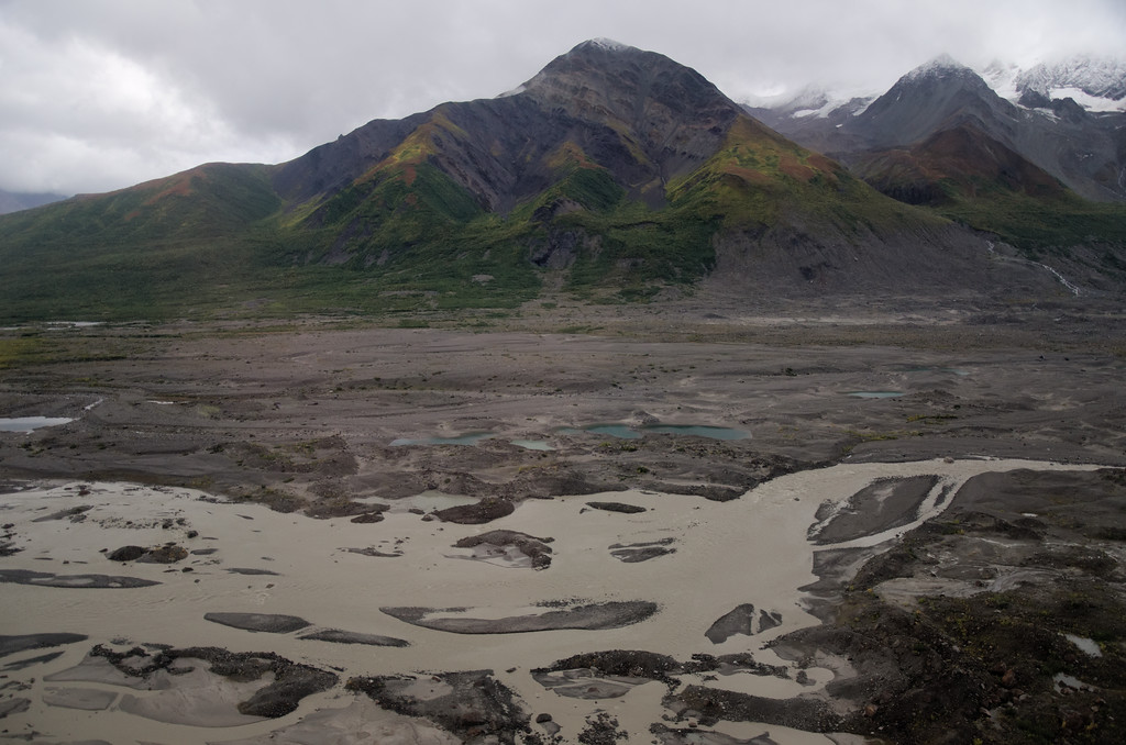 This is all melt and rain runoff from the Black Rapids Glacier.