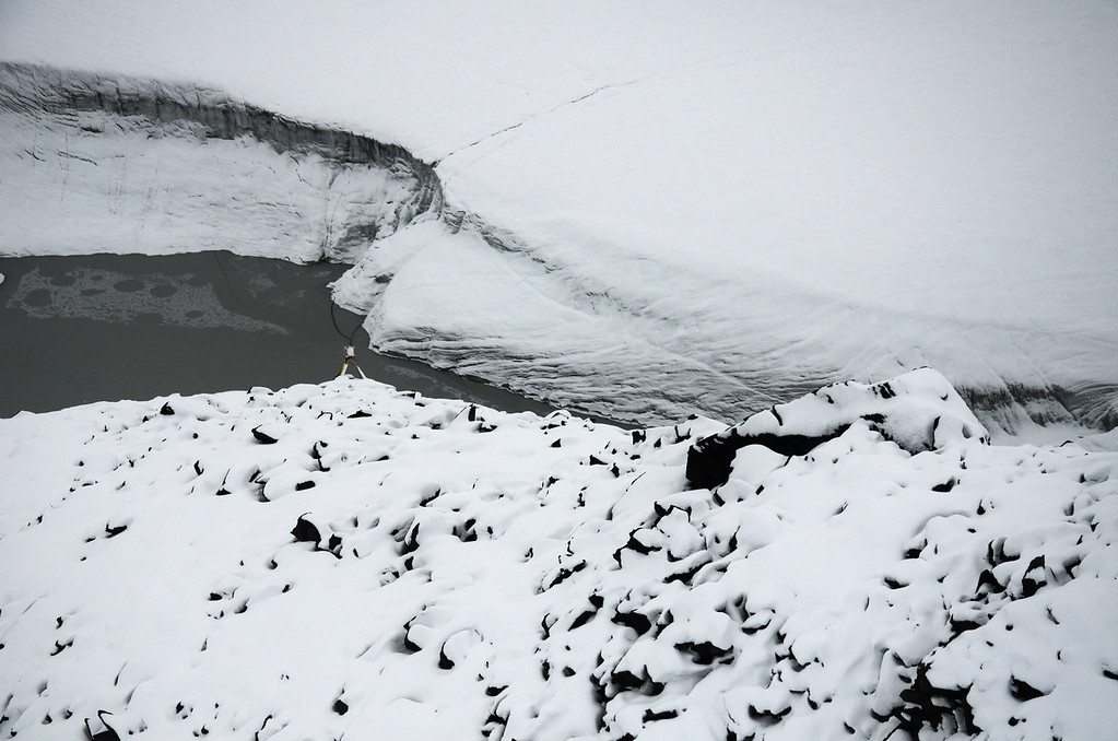 Timelapse camera monitoring one of the lakes on the Black Rapids Glacier.
