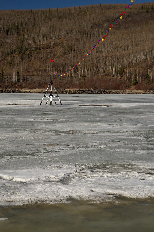 The tripod standing on the Tanana River in Nenana. It's part of a contest known around Alaska as the Nenana Ice Classic. People buy tickets to guess when the river will break up. Last year the jackpot was $318,500.http://www.nenanaakiceclassic.com/