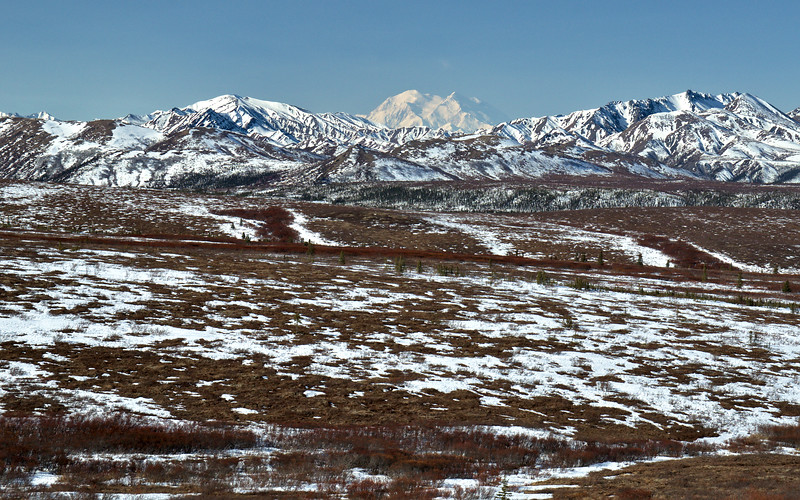 The texture and color offered by the landscape here as the snow melts is remarkable. Just look at that mountain!