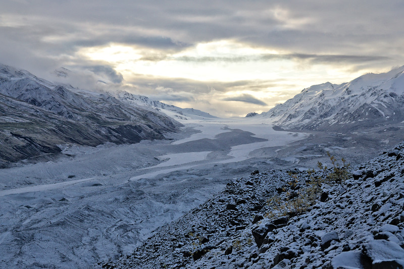 Summer is over. As the Sun rises over the Canwell Glacier in the Alaska Range - August 31, 2014