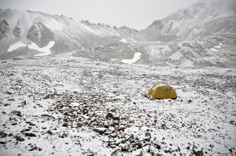 Tent in dusting of snow - camping in the rainbow basin