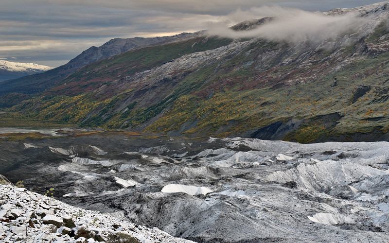 How many seasons can you count in this photo?This is the terminus of the Canwell Glacier in the Alaska Range - east of the Richardson Highway. Taken August 31, 2014.
