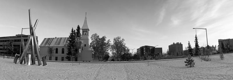 North Cushman Panorama in Black and White