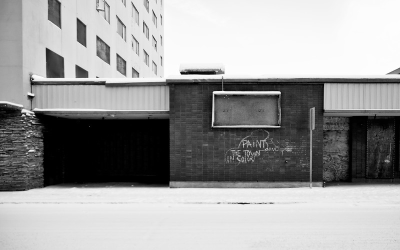Graffiti on the vacant and deteriorating Polaris building in downtown Fairbanks.