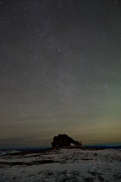 The Milky Way over a rock outcropping on Murphy Dome