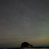 The Milky Way and some airglow over a rock outcropping on Murphy Dome