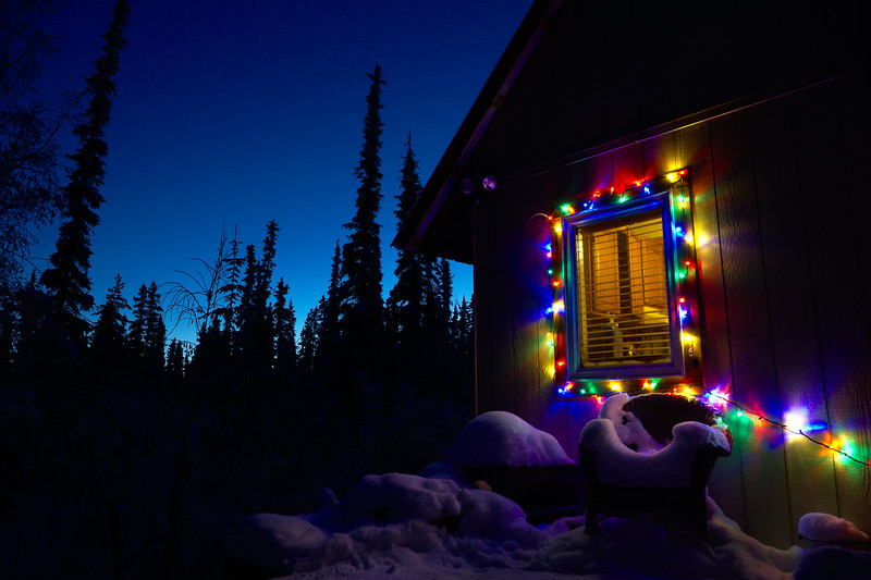 Some Christmas cheer on the dry cabin gives us some color for our looong