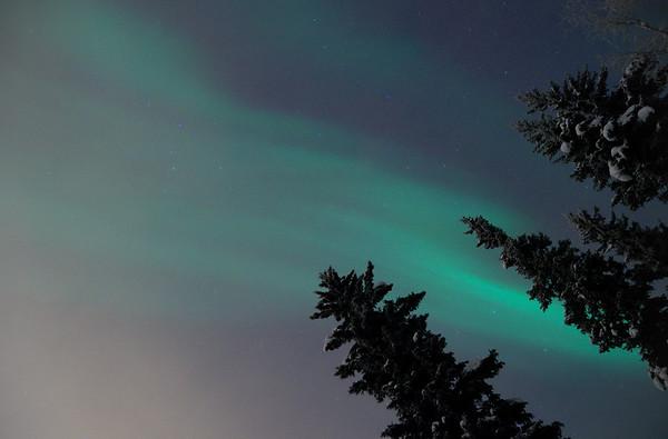 Aurora, clouds, light pollution