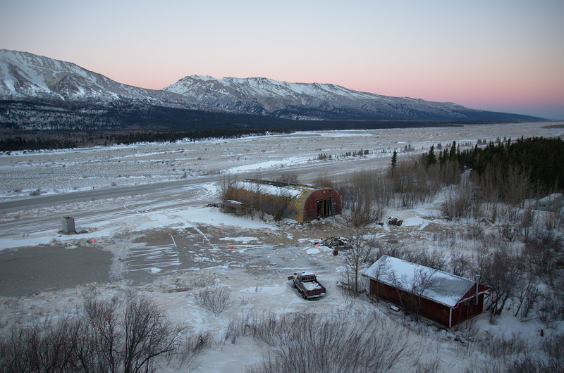 Looking down across the Black Rapids airstrip and the Richardson Highway from the lodge.