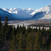 Looking over the Delta Valley and up the Black Rapids Glacier in the Alaska Range.