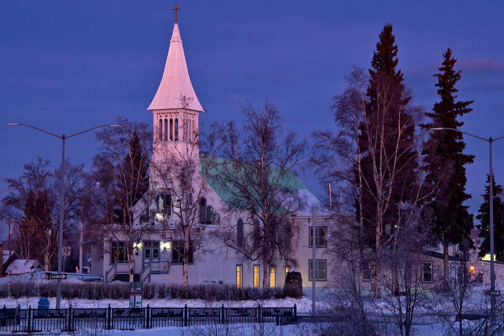 Immaculate Conception Parish from across the Chena River in Golden Heart Park. This was taken at 9:15 am Alaska time which is still about 45 minutes from sunrise. The sun was starting to come up behind me in the southeast and the clouds were already well-lit casting a bit of pinkish-orange on the very much blue-violet twilight to the north.