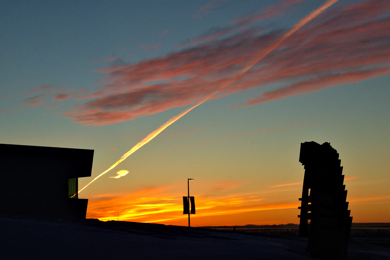 Watching the sunrise next to the Museum of the North at the University of Alaska Fairbanks.