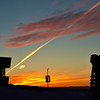 jet contrail at sunrise