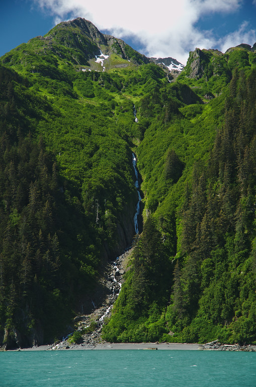Mountain and waterfall scenery along Prince William Sound