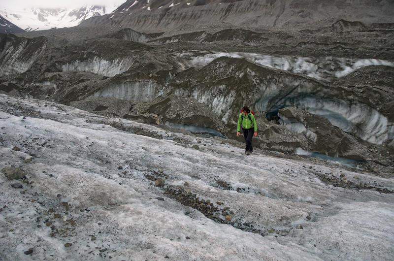 Finally on ice after a long day of exploring and navigating the rocky moraine.