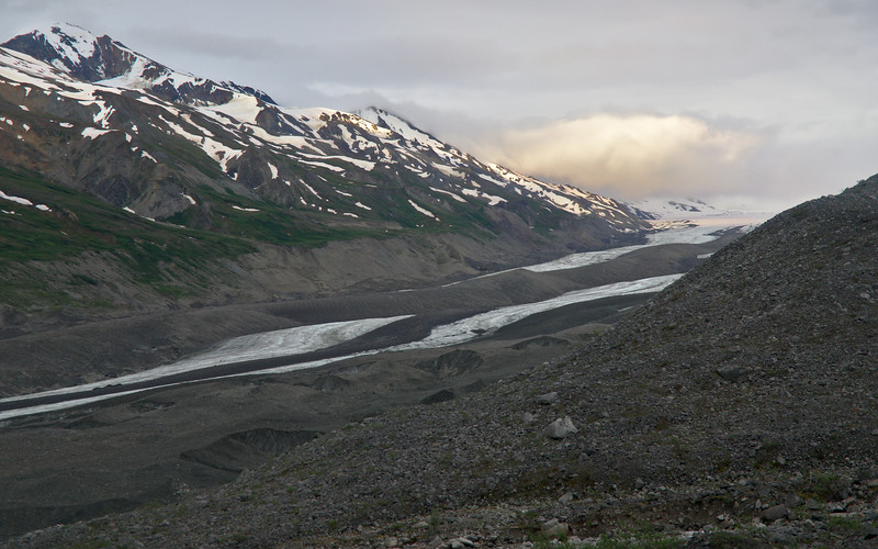 Cool light and better weather than we had for our hike - looking over the Canwell Glacier near sunset