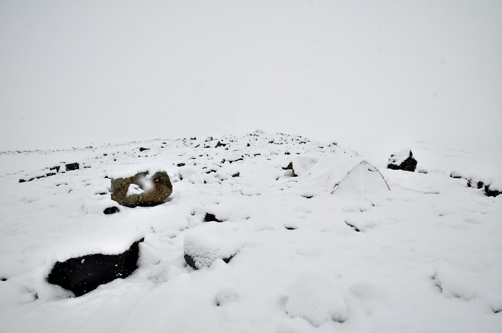 A photo of Andrew's tent on the moraine.