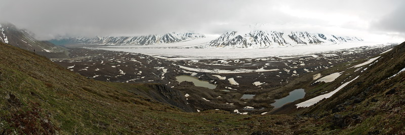 This photo was taken near a USGS marker above the Black Rapids Glacier. Center top you can see the Loket tributary flowing into the main branch of the glacier. The rocky moraine in between is where we camped for 15 days. The lake bottom center is a large, ice-dammed marginal lake that drains every year causing the glacier to speed-up slightly from the increased water pressure at the base. Andrew is off to the left, also enjoying this view.