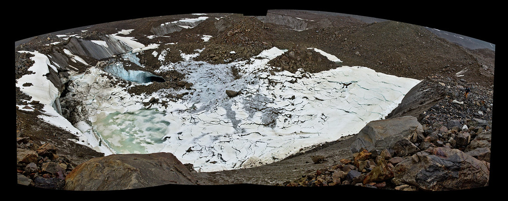 A drained lake on the Black Rapids Glacier