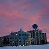The Syun-Ichi Akasofu and Elvey buildings that house the International Arctic Research Center (IARC) and Geophysical Institute (GI) on the University of Alaska Fairbanks Campus taken during a spectacular sunrise this morning.