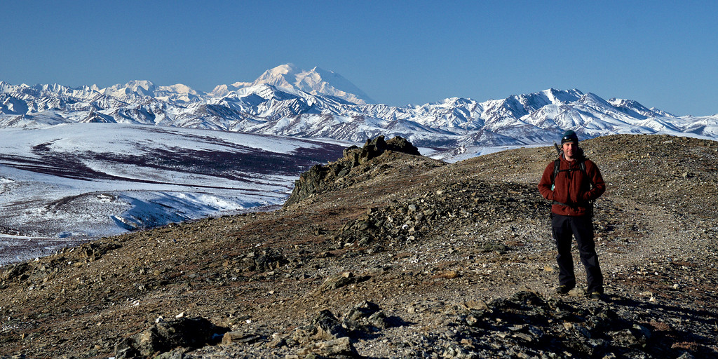 The author posing in front of Denali on the Savage Alpine Trail in Denali National Park in March.