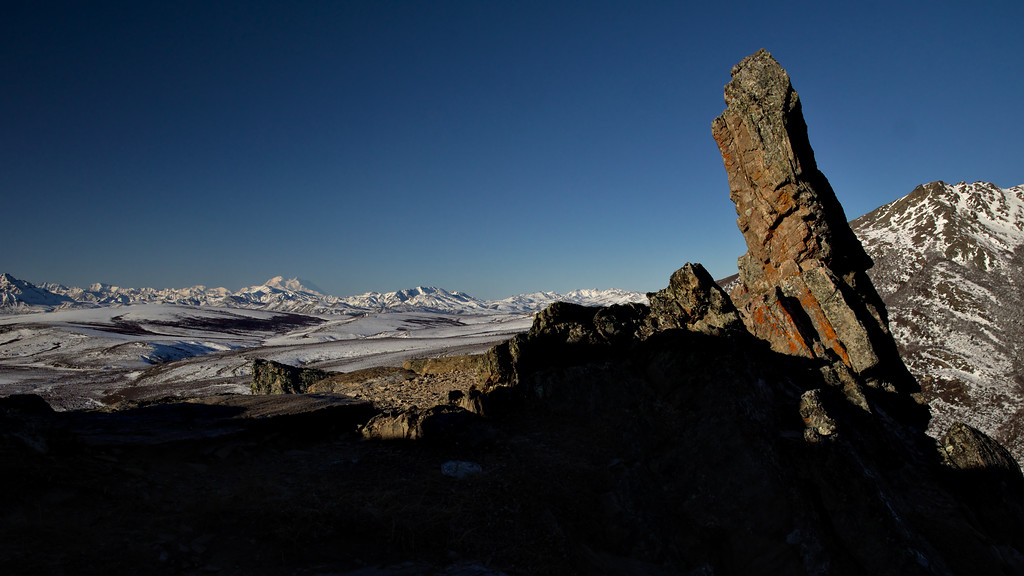 Rocky landscape on the Savage Alpine Trail in March with Denali in the background.