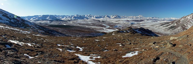 Looking over the Savage River Valley in Denali National Park. Denali is on the horizon just up and left of the Park Road (on the far right). A perfect day in the Alaska Range! Cropped to print at 10