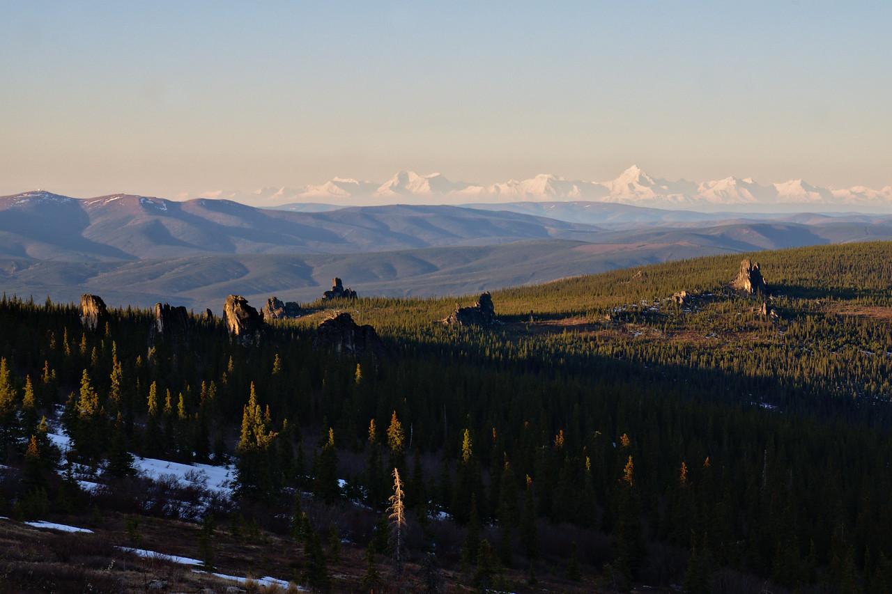 The Alaska Range makes a painting-like backdrop to the Granite Tors
